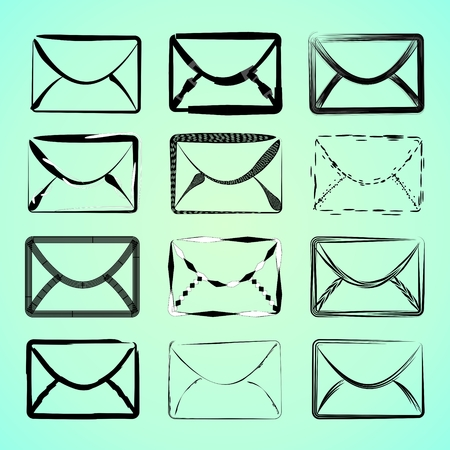 Icons of mail in different styles