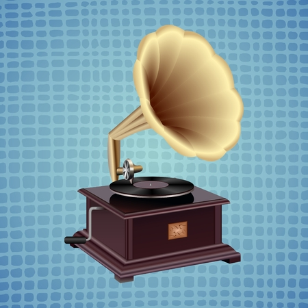 Gramophone on a blue background.