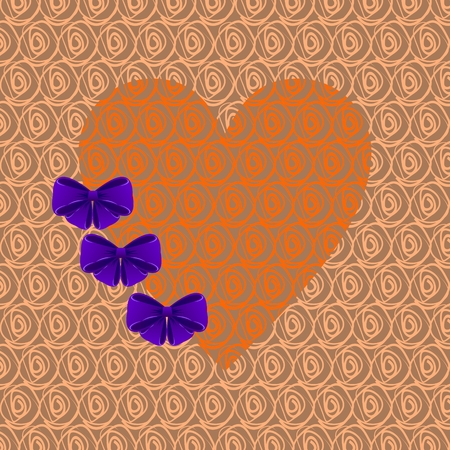Orange heart with purple bows on a biege background