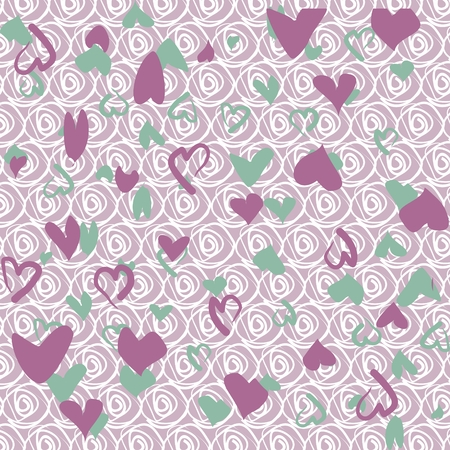 Floral background with green and lilac hearts