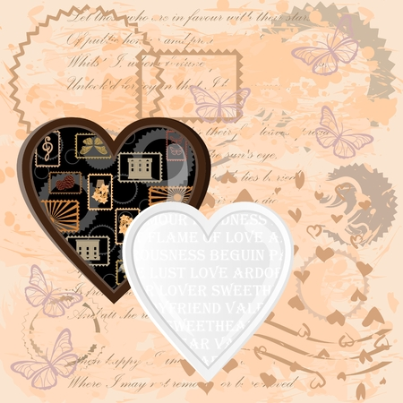 Black and white hearts on a vintage background