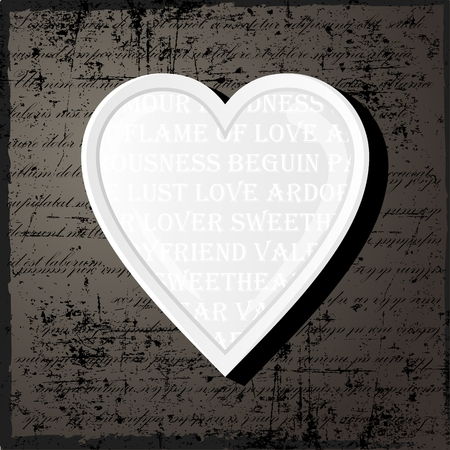 White heart in vintage style with text