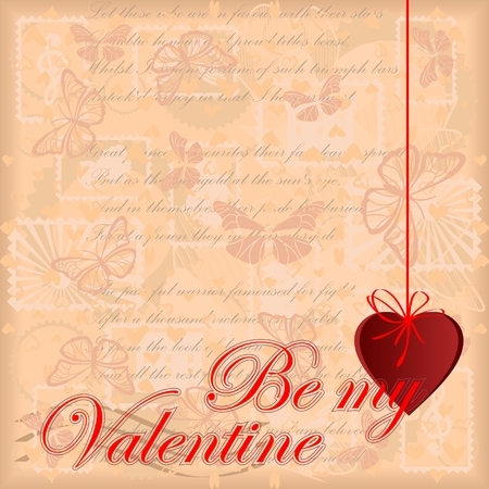 Greeting card Be my Valentine with vintage background Illustration