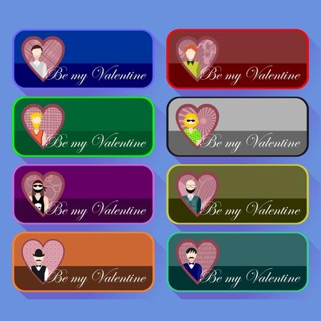 Verzameling van pictogrammen voor Valentijnsdag met man Stock Illustratie