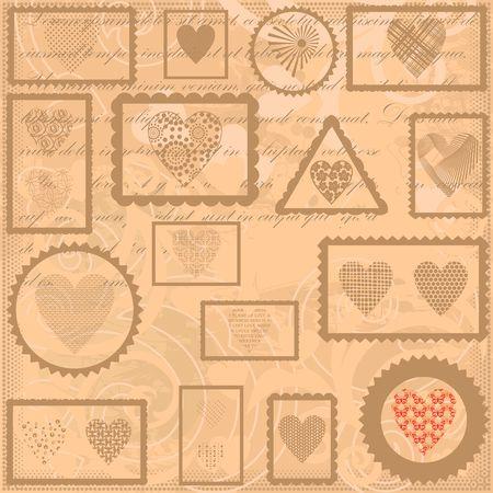 Vintage background with post stamps  Vector illustration.