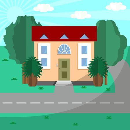House near the road Ilustrace