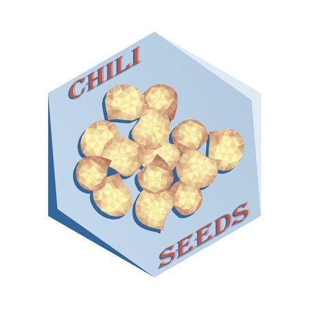 チリ種子ベクトルイラストを調味するためのラベル。