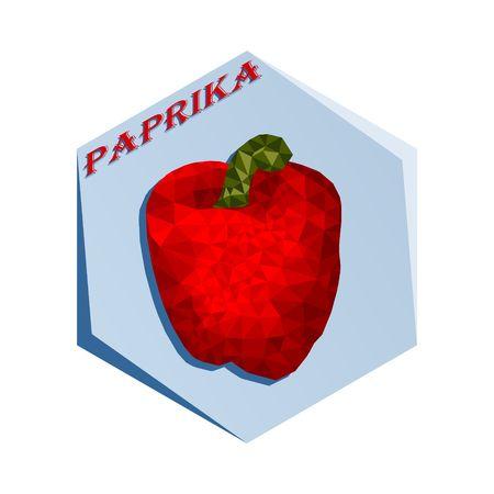 パプリカベクターイラストの調味料用ラベル。  イラスト・ベクター素材