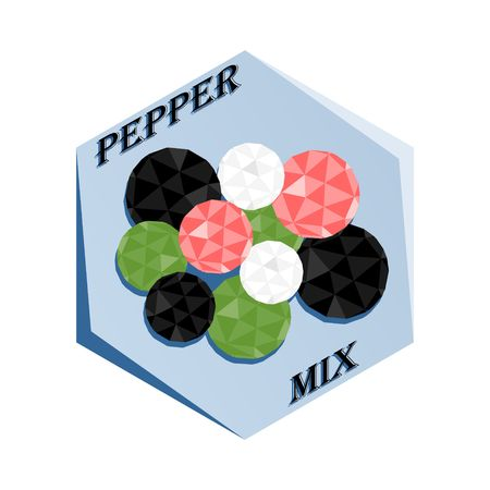 Label for seasoning Pepper Mix Vector illustration.