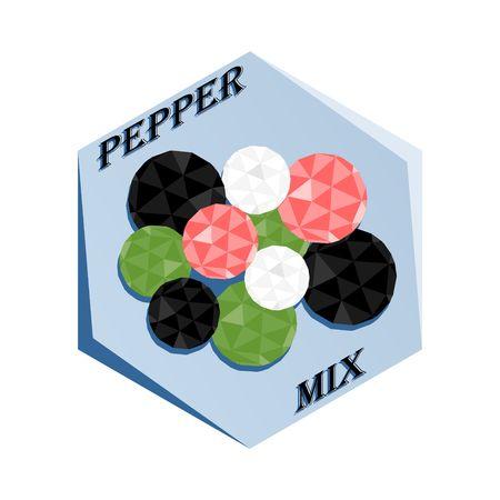Label for seasoning Pepper Mix Vector illustration.