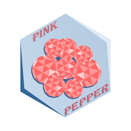 Label for seasoning Pink Pepper Vector illustration. Иллюстрация