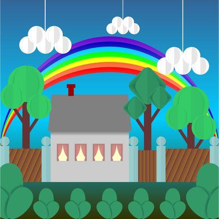 Cartoon multicolored house and rainbow