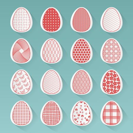 Red and white easter eggs illustration