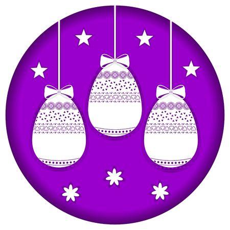 Cartoon easter eggs greeting card violet colour