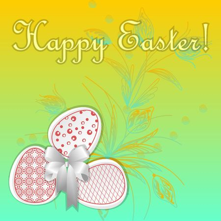 Greeting card with easter eggs yellow colour Illustration
