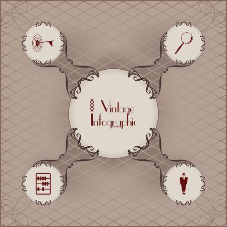 Vintage infographic vector image design. Ilustrace