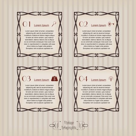 Vintage infographic vector image square Ilustrace
