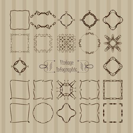 Set of Black frames in vintage style