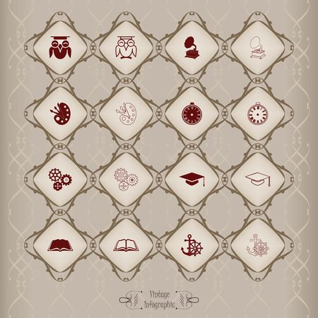 Icons set in vintage style Ilustrace
