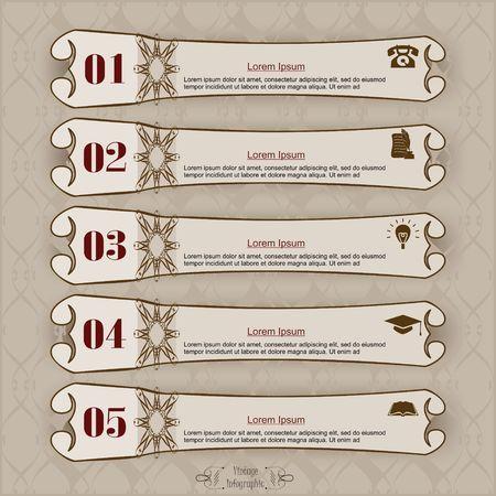 Long label vintage infographic design template