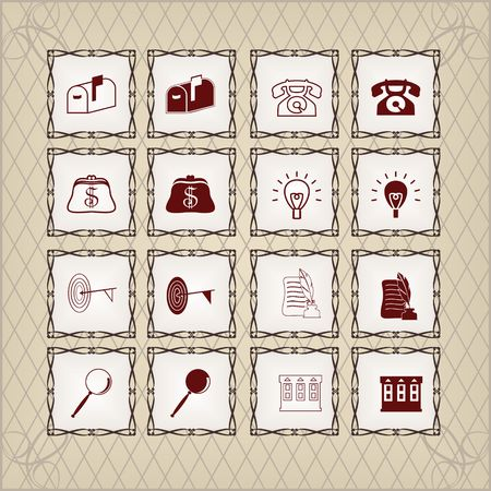 Icons set in Vintage Style
