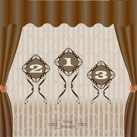 Vintage infographic banner vector image in brown.
