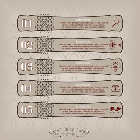 Vintage infographic long label vector in brown.