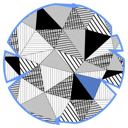 Black and white circle in triangle design