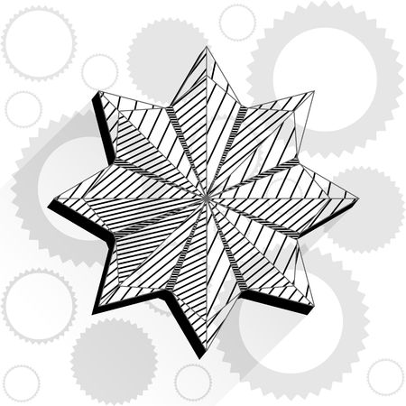 Black and white flower in polygon style design Ilustrace