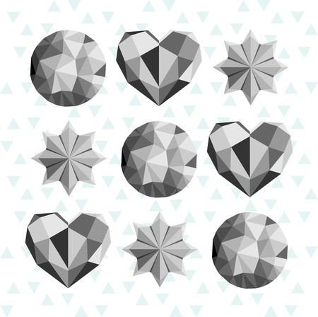 Black and white circles, hearts and stars in triangle design