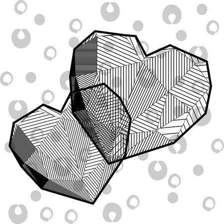 Black and white hearts in triangle design Ilustrace