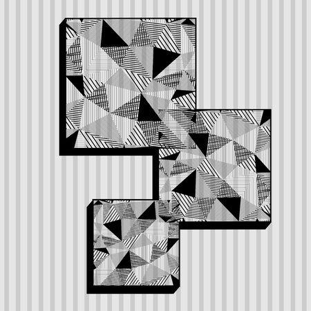 Black and white squares in triangle design Ilustrace