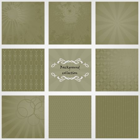 Collection of backgrounds in olive tones