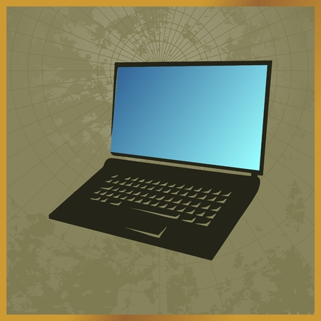 Icon with a black laptop on green Ilustrace