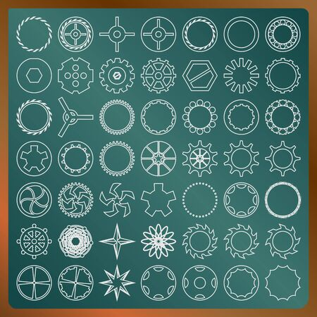 Set of gears on a greenboard vector image