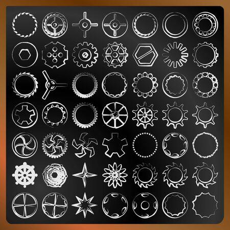 Set of gears on a blackboard vector image
