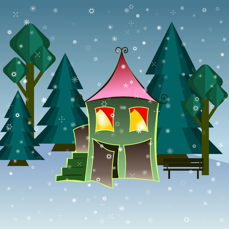 House in snowfall. Christmas greeting card background poster. Vector illustration.