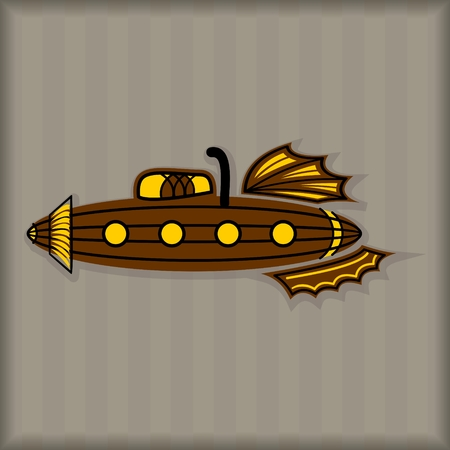 Submarine Steampunk Style vector image brown colored Ilustrace