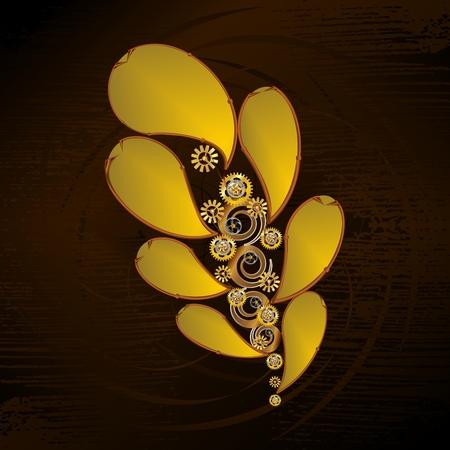 Steampunk Oak Leaf vector image in brown