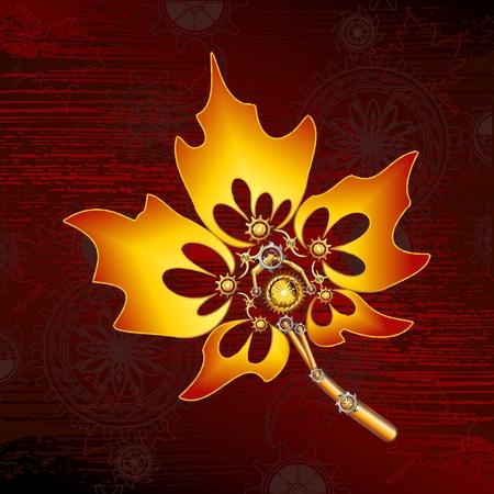 Steampunk Maple Leaf vector image in scarlett