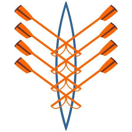 Logo vectoriel pour club d'aviron orange et vert Logo