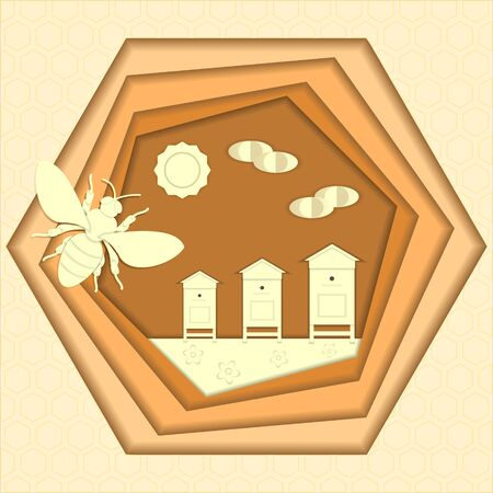 Bee honey paper cut style vector illustration.