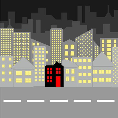 Vector illustration of evening city landscape in gray with central black house Иллюстрация