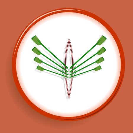Emblem from rowing club in green and red colors