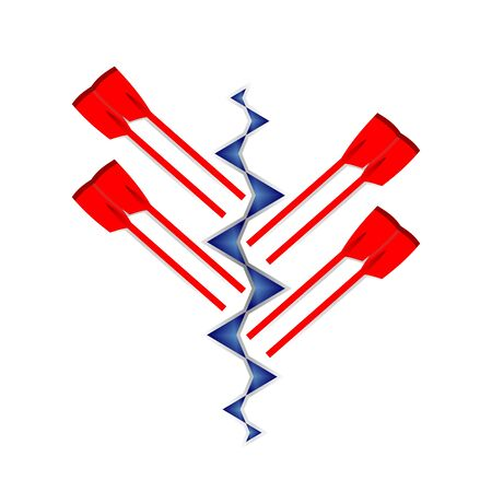 Vector logo for rowing club in red and blue