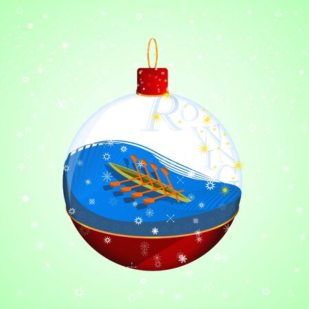 Rowing in a Christmas ball  イラスト・ベクター素材