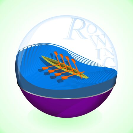 Rowing in a glass ball  イラスト・ベクター素材