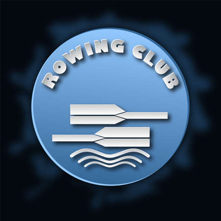 White and blue logo for the rowing club. Paper cut style. Vector illustration Illustration