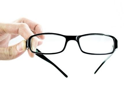 Hand with glasses on a white background