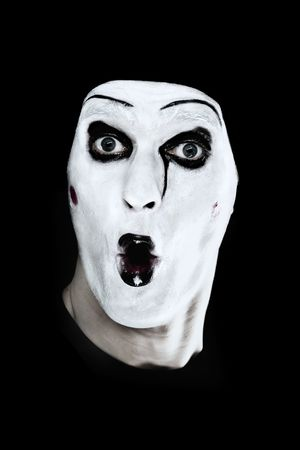 parody: Portrait of the mime on a black background